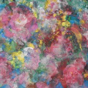 Roses trémières (54,5x32cm)