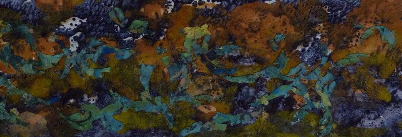 Coraux khmers peinture papier pigment de conservation le chat filant