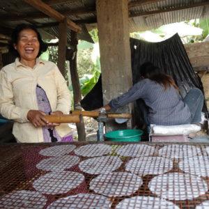 Feuilles de riz mises sur une claie en bambou