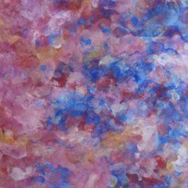 peinture sur papier nuages roses